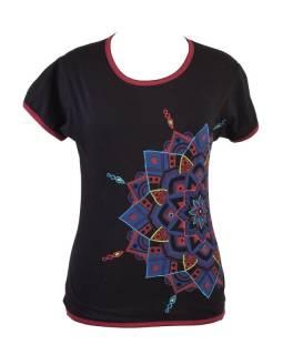 Čierne tričko s krátkym rukávom, farebná výšivka, potlač
