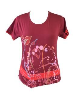 Vínovej tričko s potlačou kvetín a výšivkou