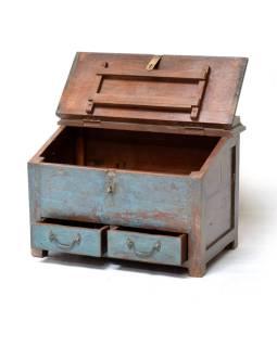 Starý Kupecký stolík z teakového dreva, modrá patina 64x40x47cm