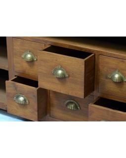 Komoda pod TV z antik teakového dreva so zábradlím, 170x60x82cm