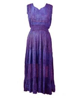 Dlhé fialové šaty bez rukávov, výšivka, opasok