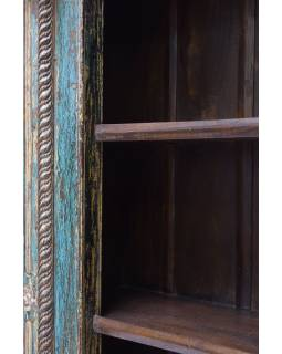 Knižnica z teakového dreva vyrobená zo starého portálu, 140x55x217cm