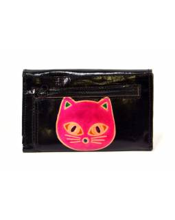 "Peňaženka design ""Cat Head"" maľovaná kože, čierna 9x14cm"