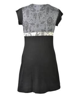 Čierno šedé šaty s krátkym rukávom, mix potlačí, Shiva Óm dizajn