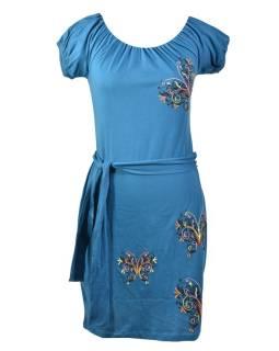 Modré šaty na ramená, krátky rukáv, farebná výšivka motýľ