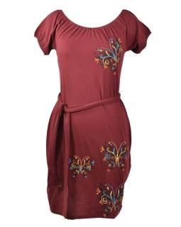 Vínové šaty na ramená, krátky rukáv, farebná výšivka motýľ