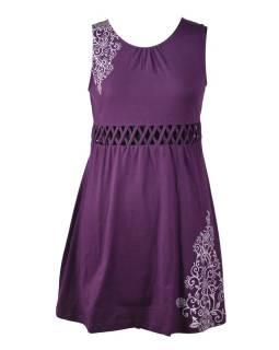 Fialové šaty bez rukávov s ornamentálnym potlačou a prestrihy, bio bavlna