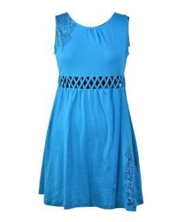 Tyrkysové šaty bez rukávov s ornamentálnym potlačou a prestrihy, bio bavlna