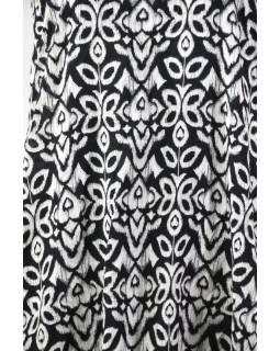 Elegantné balónové šaty bez rukávov, potlač, vrecká, čiernobiela