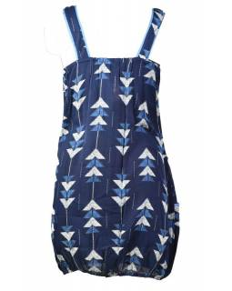 Elegantné balónové šaty bez rukávov, potlač, vrecká, modrá