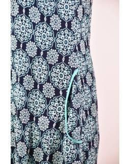 Elegantné balónové šaty bez rukávov, potlač, vrecká, tyrkys-čierna