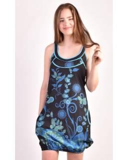 "Čierno-modrá balónové šaty bez rukávov ""Flower design"", vrecká"