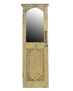 Stará dvierka z teakového dreva prerobená na zrkadlo, 37x110x4cm