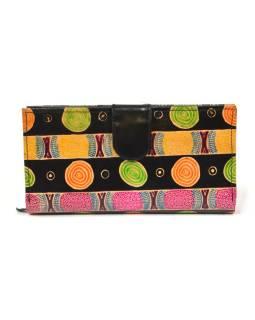 Peňaženka, maľovaná kože, čierna, 23x12cm