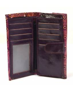 """Peňaženka design """"dots"""" maľovaná kože, fialová, 9x16cm"""