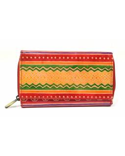 Peňaženka zapínaná na zips, červená, pruhy, maľovaná kože, 17x11cm