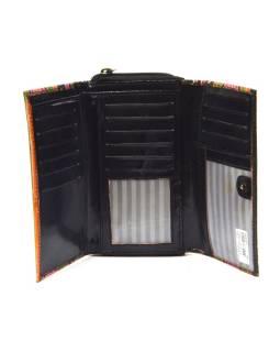 Peňaženka zapínaná na zips, čierna, pruhy, maľovaná kože, 17x11cm