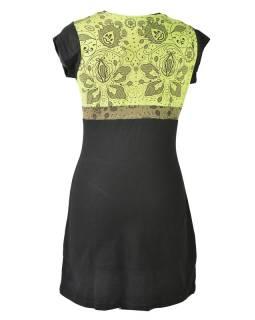 Černo zelené šaty s krátkym rukávom, mix potlačí, Shiva Óm dizajn
