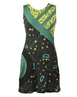Čierno-zelené šaty bez rukávov, Natural Peacock dizajn, potlač