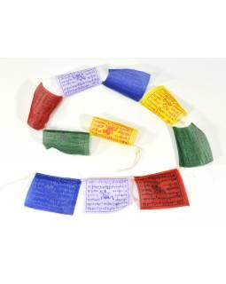 Tibetskej modlitebné zástavky na šnúre 80cm, 10 zástaviek, 8x7cm