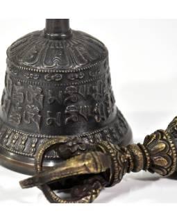 Tibetský zvon a Dorji, bronzová farba, ornament, 15cm