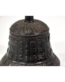 Tibetský zvon a Dorji, bronzová farba, ornament, 18cm