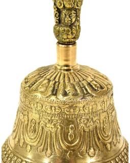 Tibetský zvon a Dorji, mosadzná farba, ornament, 15cm