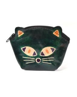 Peňaženka na drobné, tmavo zelená, maľovaná kože, mačacie hlava, 10x8cm