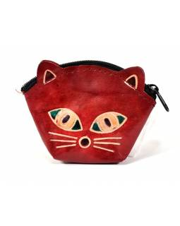 Peňaženka na drobné, červená, maľovaná koža, mačacie hlava, 10x8cm