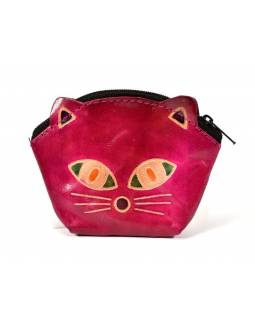 Peňaženka na drobné, ružová, maľovaná kože, mačacie hlava, 10x8cm