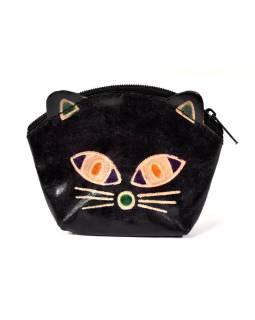 Peňaženka na drobné, čierna, maľovaná koža, mačacie hlava, 10x8cm