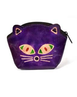 Peňaženka na drobné, fialová, maľovaná kože, mačacie hlava, 10x8cm