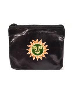 Peňaženka na drobné, čierna, slnko ručne maľovaná kože, 10,5x8,5 cm