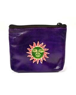 Peňaženka na drobné, fialová, slnko ručne maľovaná kože, 10,5x8,5 cm