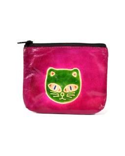 Peňaženka na drobné, ružová, mačacie hlava, ručne maľovaná kože, 10,5x8,5 cm