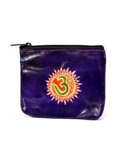 Peňaženka na drobné, fialová, Óm, ručne maľovaná kože, 10,5x8,5 cm