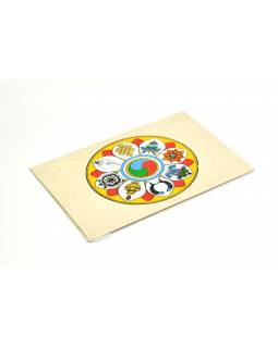 Prianie vyrobené z ručného papiera s obrázkom, osem cenností, 12x16cm