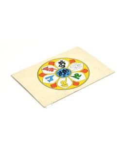 Prianie vyrobené z ručného papiera s obrázkom, mantra, 12x16cm