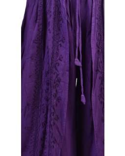 Dlhé thajskej nohavice, tmavo fialovej, pružný pás, výšivka