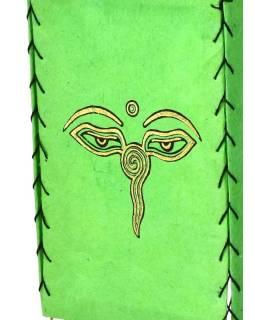 Tienidlo, štvorboké, zelené, zlatá tlač, Budha oči, 18x25cm