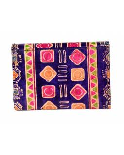 """Veľká peňaženka design """"Indian"""", ručne maľovaná kože, fialová, 15x11cm"""