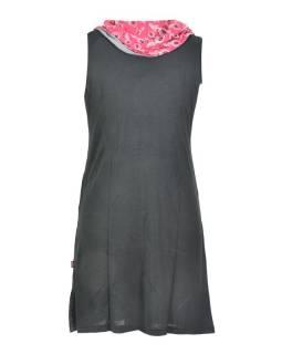 Čierne šaty s golierom, bez rukávov, potlač Peacock