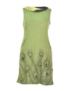 Khaki šaty s golierom, bez rukávov, potlač Peacock