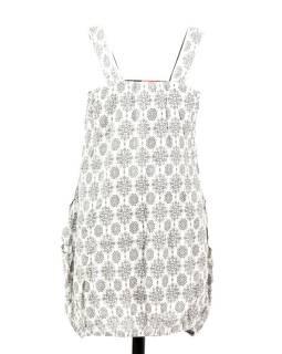 Elegantné balónové šaty bez rukávov, potlač, vrecká, bielo-šedivé