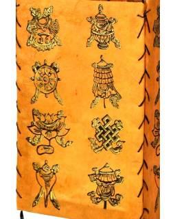 Tienidlo, štvorboké, oranžové so zlatou potlačou Astamangal, 18x25cm