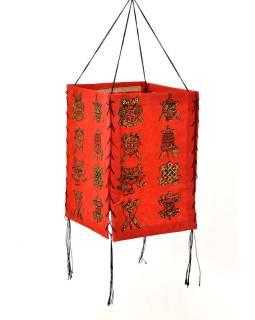 Tienidlo, štvorboké, červené so zlatou potlačou Astamangal, 18x25cm