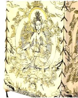 Tienidlo, štvorboké biele sa zlato-čiernou potlačou Zelené Tary, 18x25cm
