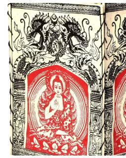 Tienidlo, štvorboké biele s červeno-čiernou potlačou Budhu a drakov, 18x25cm