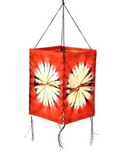 Tienidlo, červené, štvorboké, batika kruh, farbený ryžový papier, 18x26cm