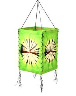Tienidlo, zelené, štvorboké, batika kruh, farbený ryžový papier, 18x26cm